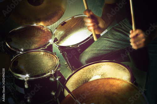 Musical performance on stage.Recreation and music show. Drum on stage. Live music and instruments.