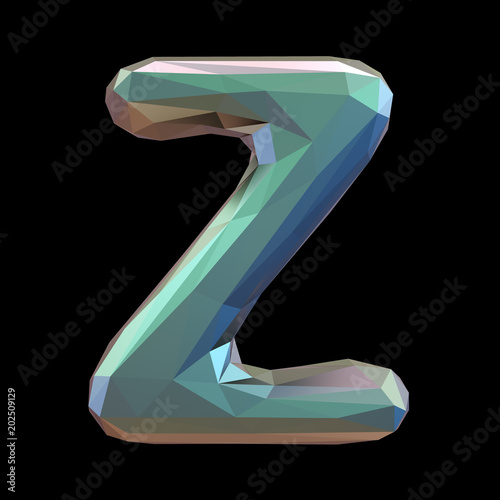 Capital latin letter Z in low poly style isolated on black background