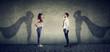 Leinwanddruck Bild - Brave man and woman posing as super hero