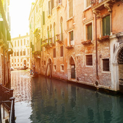 View of one of the many canals of Venice, Italy. Venice is a popular tourist destination of Europe.