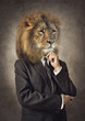 Lion in a suit. Man with a head of an lion. Concept graphic in vintage style.