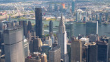 AERIAL: Flying past NYC skyscrapers, East River and Long island in background - 202535557