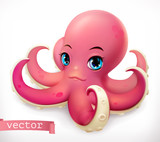Funny octopus. 3d vector icon
