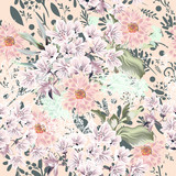 Floral cute pattern with colorful rustic pastel flowers - 202552394