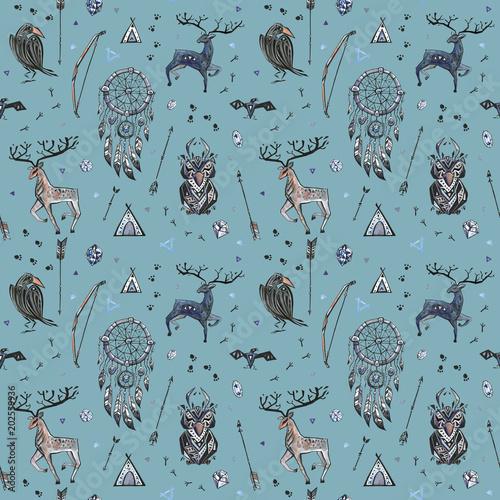 Materiał do szycia Tribal ręcznie rysowane tła, etniczny wzór ze zwierzętami i łapacz snów