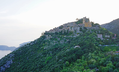 The ancient fortified mountain village of Eze in Provence, French Riviera, France © eqroy