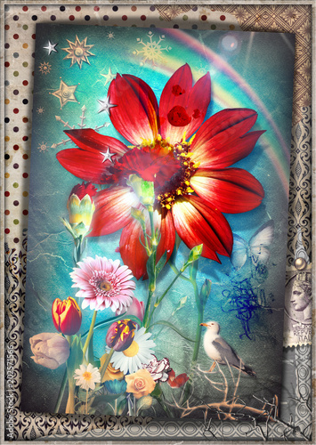 Canvas Imagination Collage patchwork surreale con fiori tropicali,garofani,acobaleno,stelle e fiocchi di neve