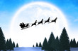 Silhouette of santa claus and reindeer against winter snow scene