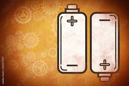 batteries against orange background