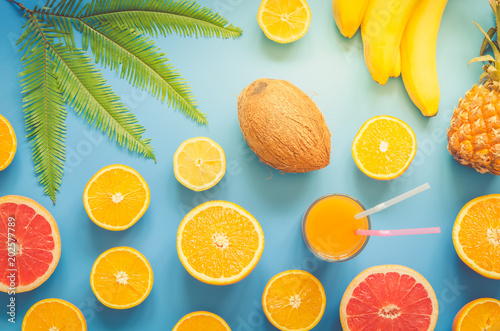 Colorful tropical and citrus fruits sliced with palm leaf over blue background