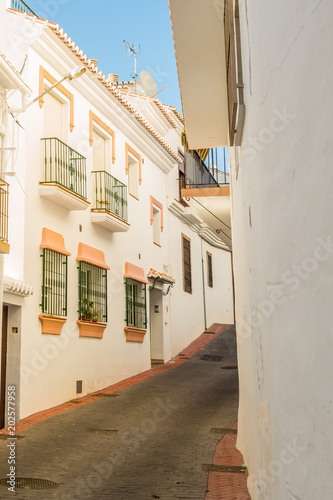 Beautiful views and streets of Frigiliana, village of Malaga on a summer day