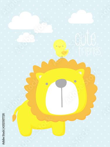 cute-baby-lion-z-malych-ptakow-i-elementow-projekt-dla-dziecka-i-dzieci-moze-byc-stosowany-do-dekoracji-scian-pokoju-dziecinnego-dekoracji-przedszkola-lub-zaproszen