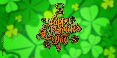 patricks day greeting against shamrock pattern - 202590196
