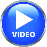 Blue Shiny round button with video mark - 202598798