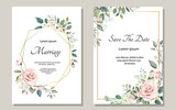 Set of card with flower rose, leaves. Wedding ornament concept. Floral poster, invite. Vector decorative greeting card or invitation design background - 202604368