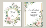 Set of card with flower rose, leaves. Wedding ornament concept. Floral poster, invite. Vector decorative greeting card or invitation design background - 202604397