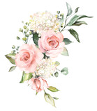 watercolor flowers. floral illustration, Leaf and buds. Botanic composition for wedding or greeting card.  branch of flowers - abstraction roses, hydrangea - 202604966