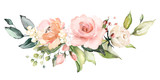 watercolor flowers. floral illustration, Leaf and buds. Botanic composition for wedding or greeting card.  branch of flowers - abstraction roses - 202605142