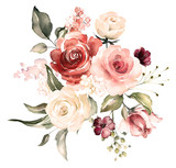 watercolor flowers. floral illustration, Leaf and buds. Botanic composition for wedding or greeting card.  branch of flowers - abstraction roses, hydrangea - 202605393