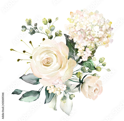 watercolor flowers. floral illustration, Leaf and buds. Botanic composition for wedding or greeting card.  branch of flowers - abstraction roses, hydrangea - 202605366