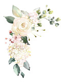 watercolor flowers. floral illustration, Leaf and buds. Botanic composition for wedding or greeting card.  branch of flowers - abstraction roses, hydrangea - 202605918