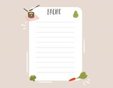 Hand drawn vector abstract modern cartoon cooking studio illustrations recipe card templete with handwritten calligraphy isolated on white background - 202605938