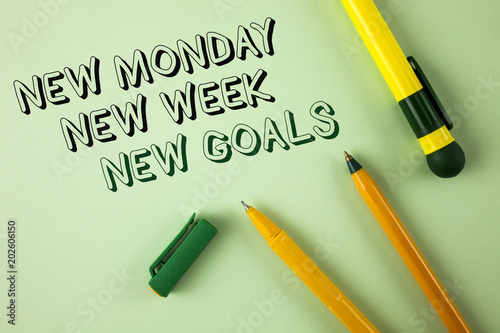 Word writing text New Monday New Week New Goals. Business concept for next week resolutions To do list Goals Targets written on Plain Green background Pens next to it.