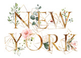 watercolor illustration with wild flowers, herbs, rose. Cool print on T-shirt with geometric shape.  Lettering - new york