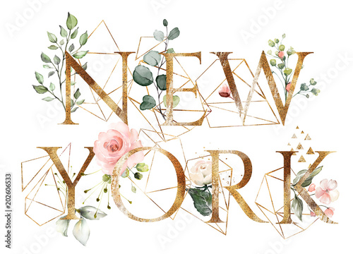watercolor illustration with wild flowers, herbs, rose. Cool print on T-shirt with geometric shape.  Lettering - new york - 202606533