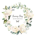Card. Watercolor invitation design with rose, bud, leaves. flower, background with floral elements , botanic watercolor illustration. Vintage Template. wreath, round frame - 202606743