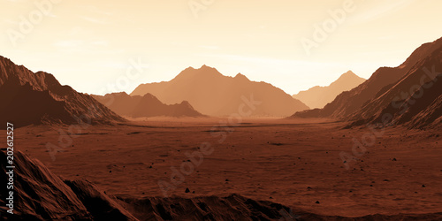Mars - the red planet. Martian landscape and dust in the atmosphere. 3D illustration
