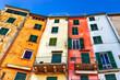 Quadro Old houses in Porto Venere, Liguria, Italy. Porto Venere architecture. Portovenere colorful houses.