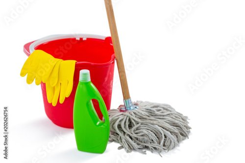 Close up of cleaning products and mop with bucket © WavebreakmediaMicro