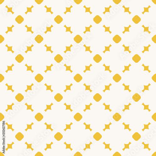 Fototapeta Yellow geometric seamless pattern with circles, squares, grid. Funky texture