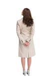 Rear view of businesswoman crossing hands behind back - 202634161