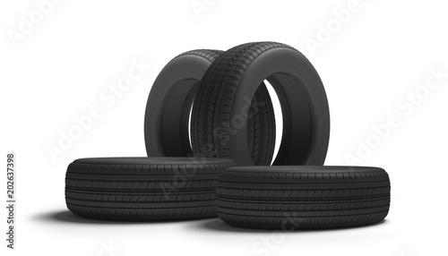 car tires 3d rendering