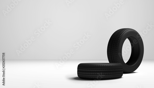 car tires 3d rendering