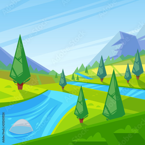 Fotobehang Lime groen Summer, spring green landscape. Vector illustration of hills, meadows and mountains.