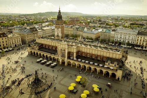 Foto Spatwand Krakau Panorama of Main Market Square in Krakow, Poland