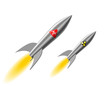Постер, плакат: realistic stylized missile with nuclear   and chemical weapons flies