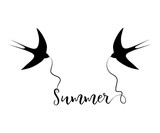 Silhouettes of swallows with the text