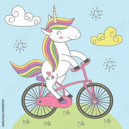 magic unicorn rides bicycle - vector illustration, eps