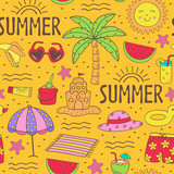 seamless pattern with summer icons on beach - vector illustration, eps