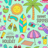 seamless pattern with summer icons - vector illustration, eps
