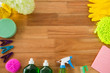 Overhead view of various cleaning products