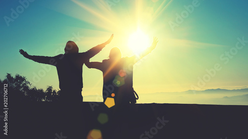Plexiglas Zwavel geel Lover woman and man Asian travel nature. Travel relax. Natural Touch countryside. On the Moutain. Stand watch the sun rise. Thailand
