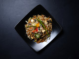 oriental cuisine. balanced diet. wholesome nutrition. veggies wheat sprouts mushroom salad meal - 202707313