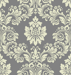 Floral pattern. Vintage wallpaper in the Baroque style. Seamless vector background. Grey ornament for fabric, wallpaper, packaging. Ornate Damask flower ornament