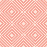Cute pink linear checkered seamless pattern. Geometric background with linear squares. Basic modern background for design, website, cards, wrapping paper. Vector illustration. - 202716793