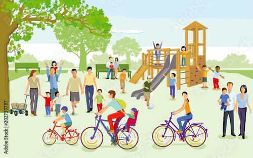 Familien mit Kindern auf dem Spielplatz